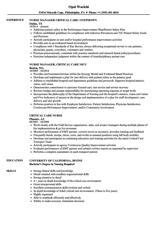 sample critical care nurse resumes