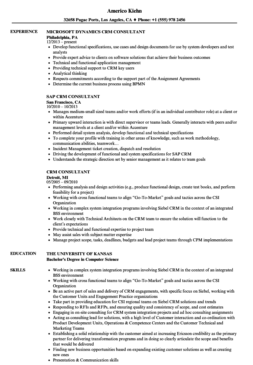 CRM Consultant Resume Samples Velvet Jobs