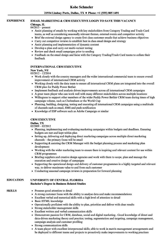 crm executive resume samples