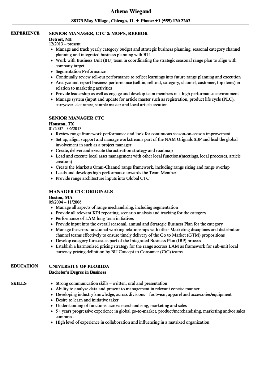 CTC Manager Resume Samples Velvet Jobs