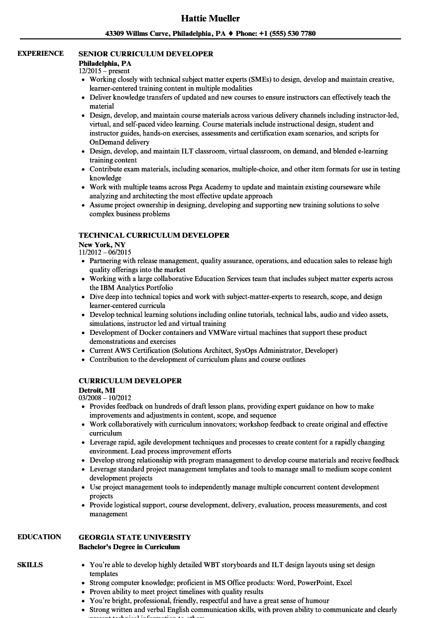 Curriculum Developer Resume Samples Velvet Jobs