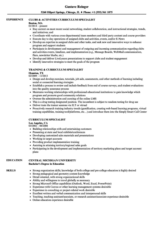 Curriculum Specialist Resume Samples Velvet Jobs
