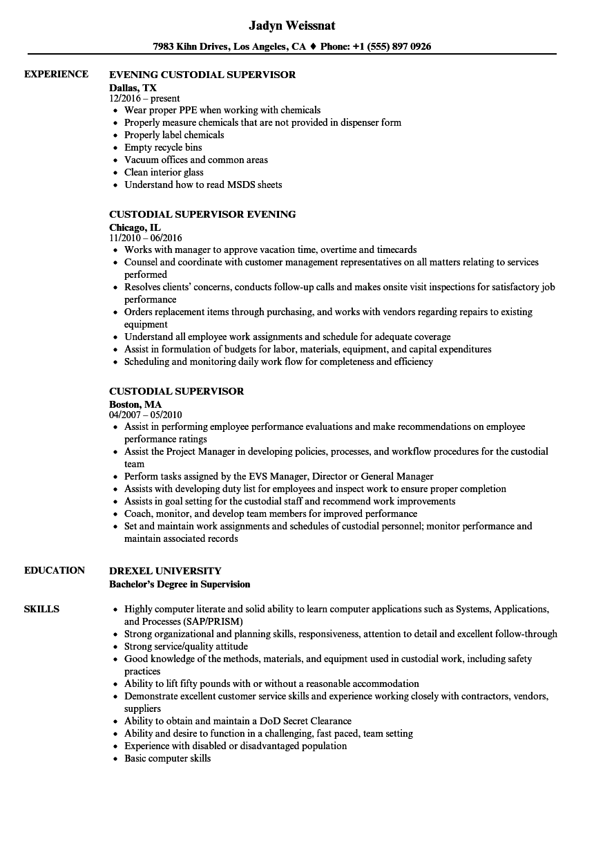 Custodial Supervisor Resume Samples Velvet Jobs