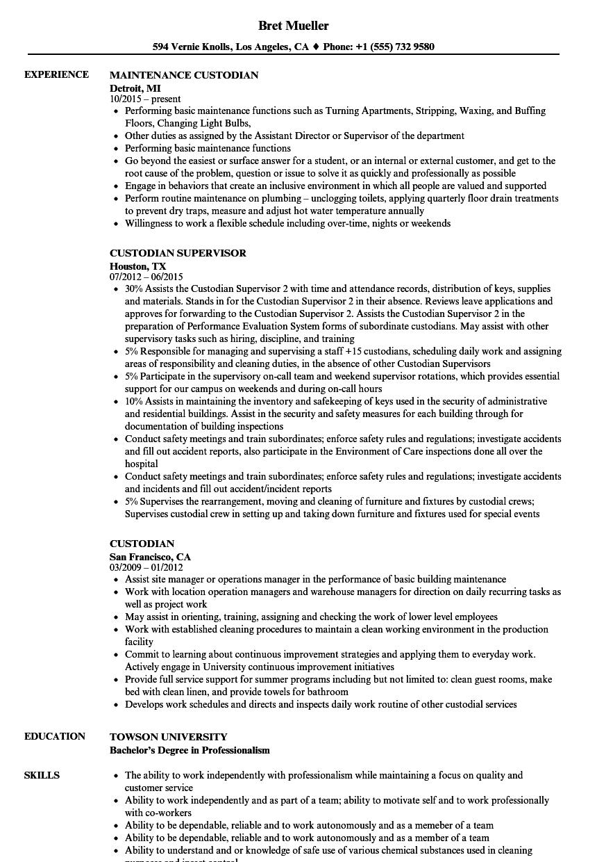 custodian resume example