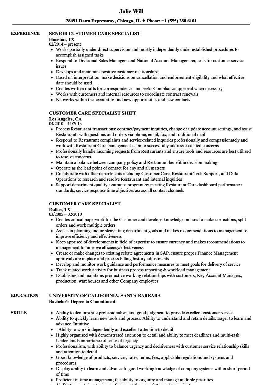 customer care associate resume sample