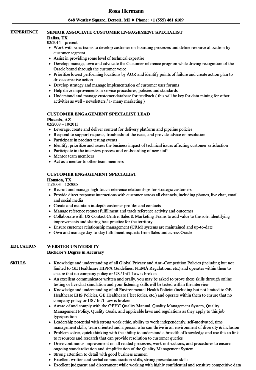 Customer Engagement Specialist Resume Samples Velvet Jobs