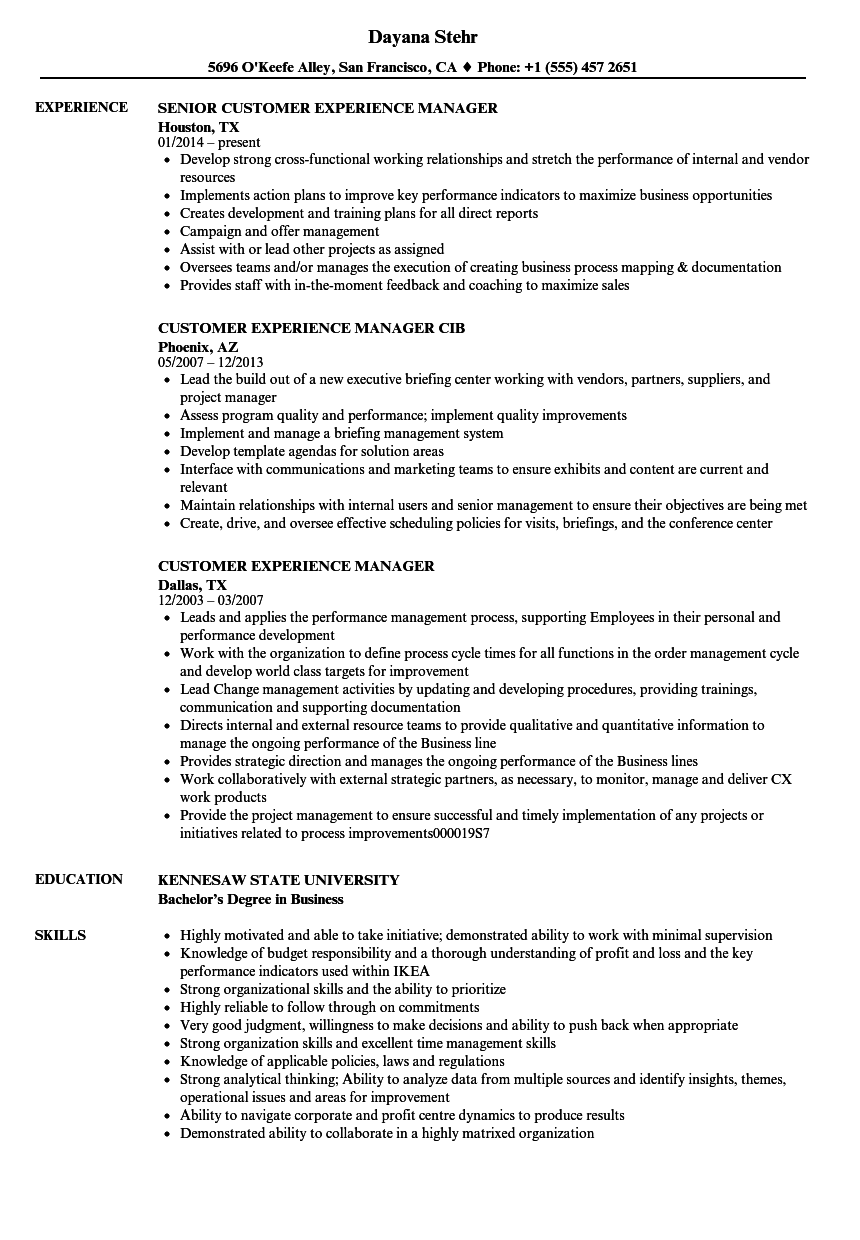Customer Experience Manager Resume Samples Velvet Jobs