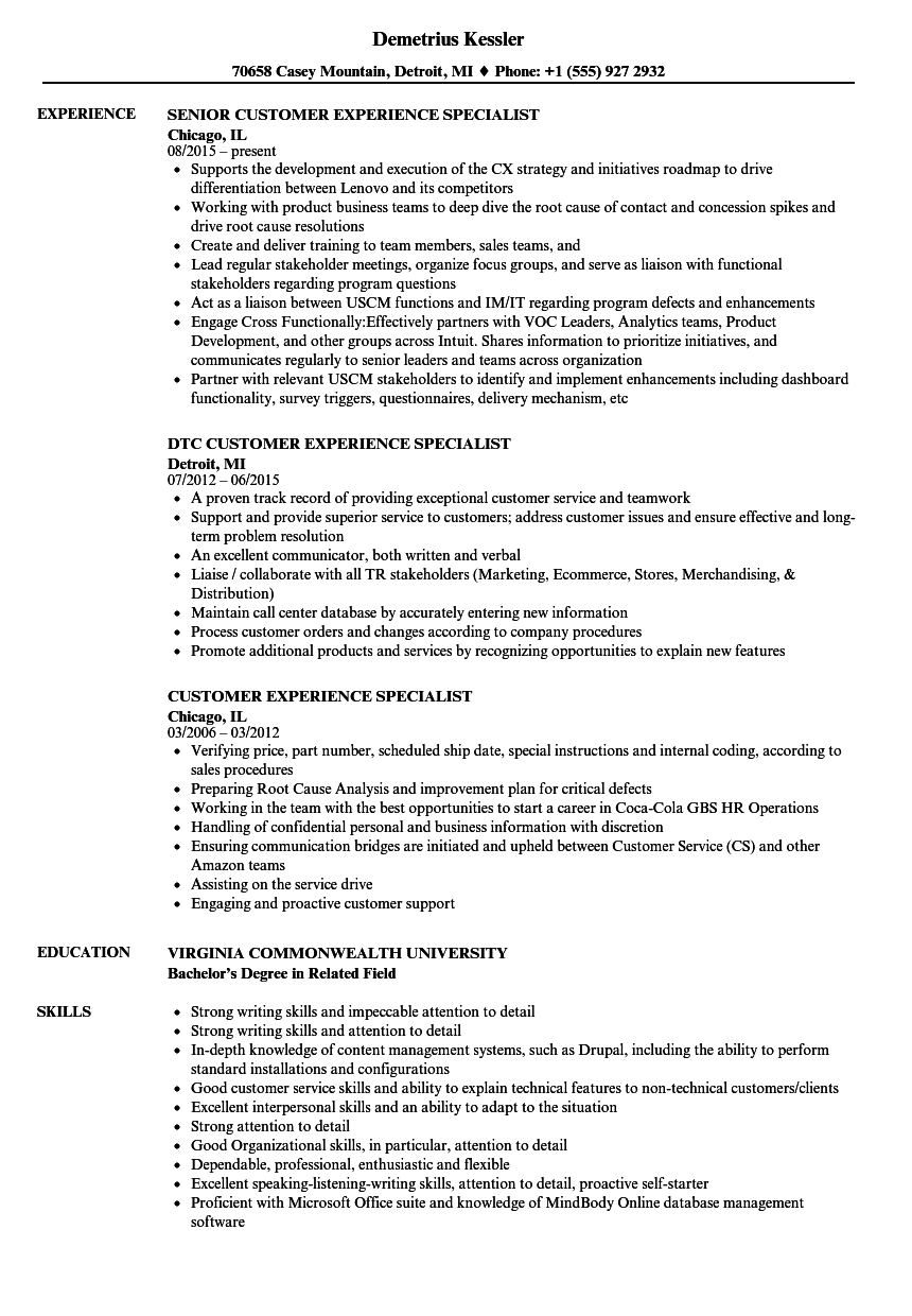 Customer Experience Specialist Resume Samples Velvet Jobs