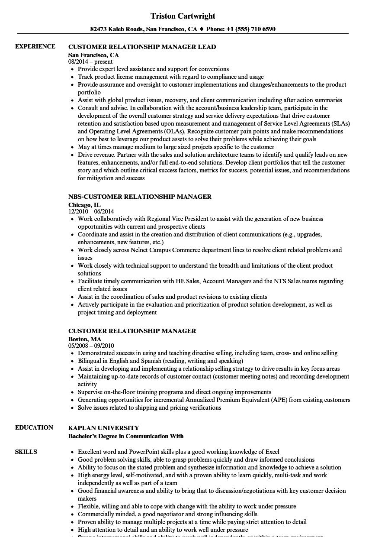 client relationship manager resume sample