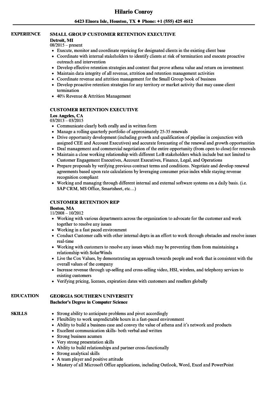 resume example for customer retention