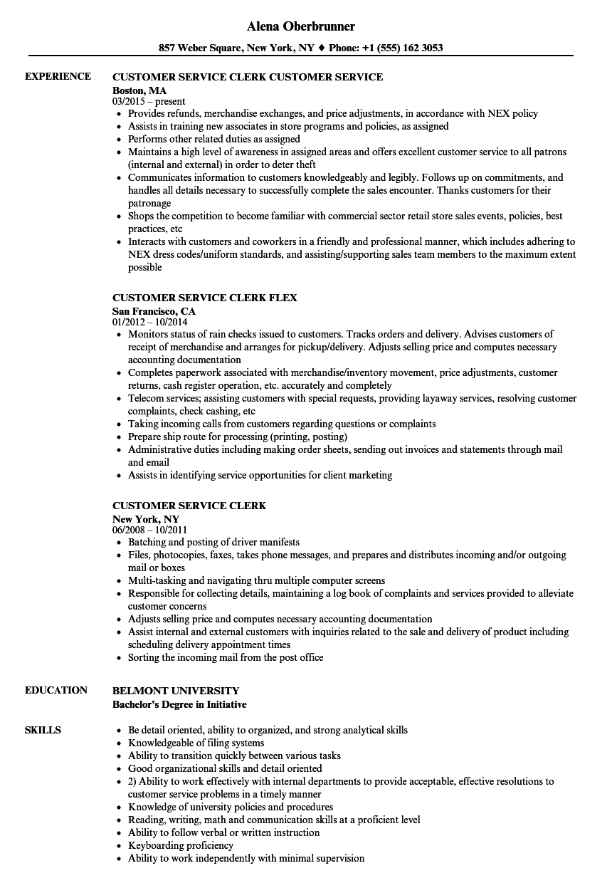 resume sample for customer service specialist