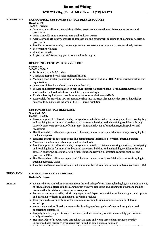 service desk resume examples