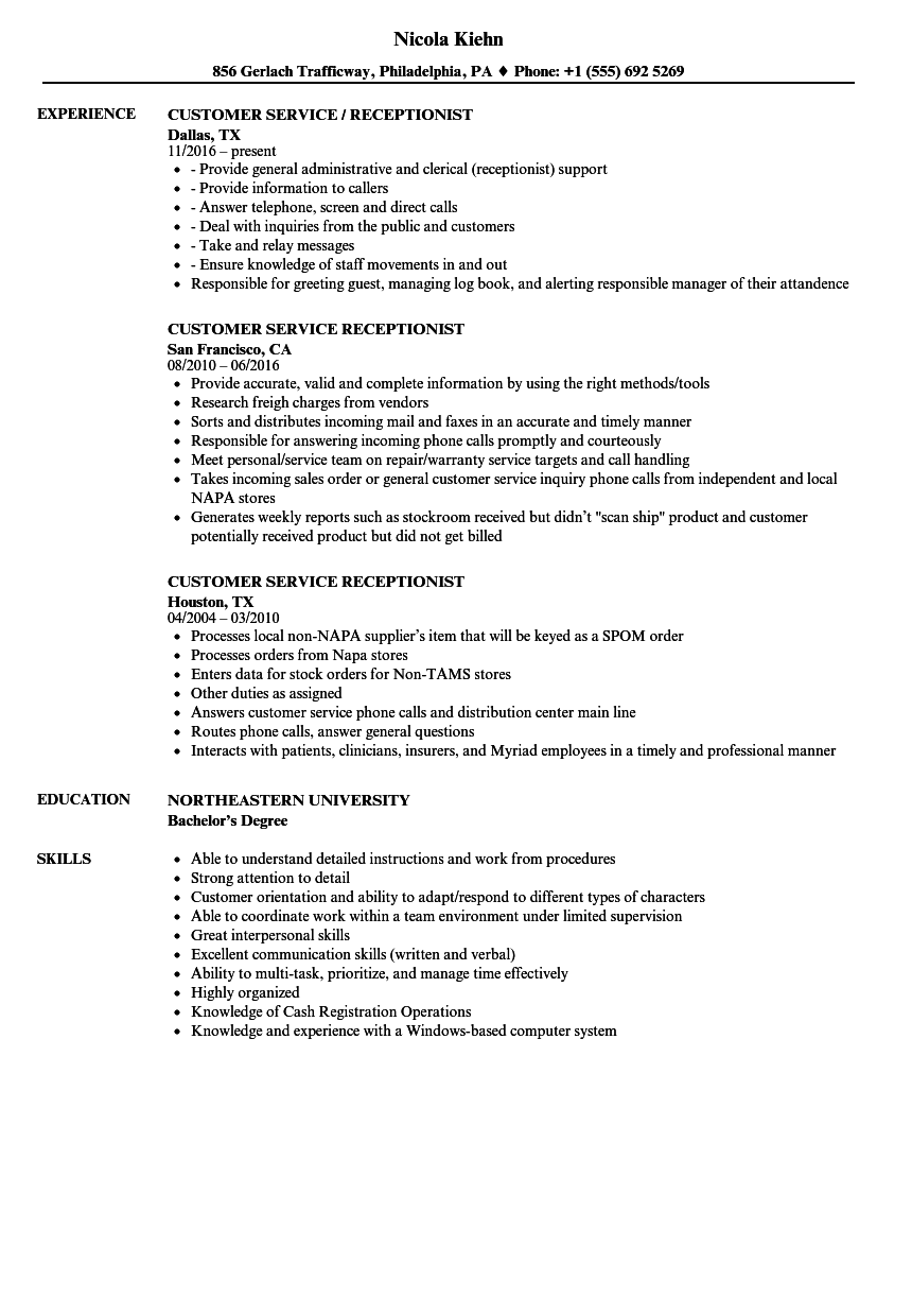 answering phones resume examples