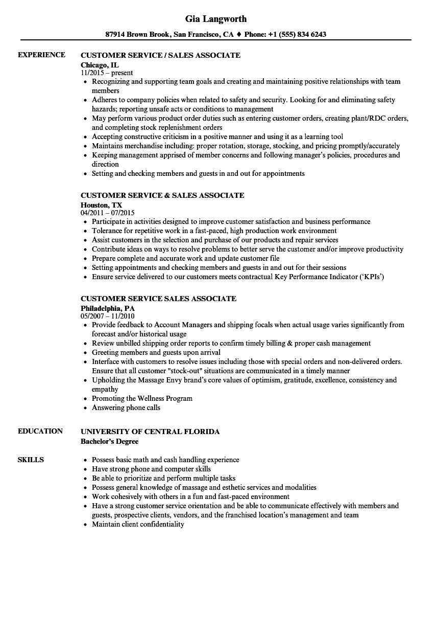 resume experience examples for customer service
