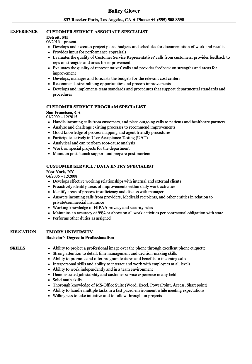 Customer Service Service Specialist Resume Samples