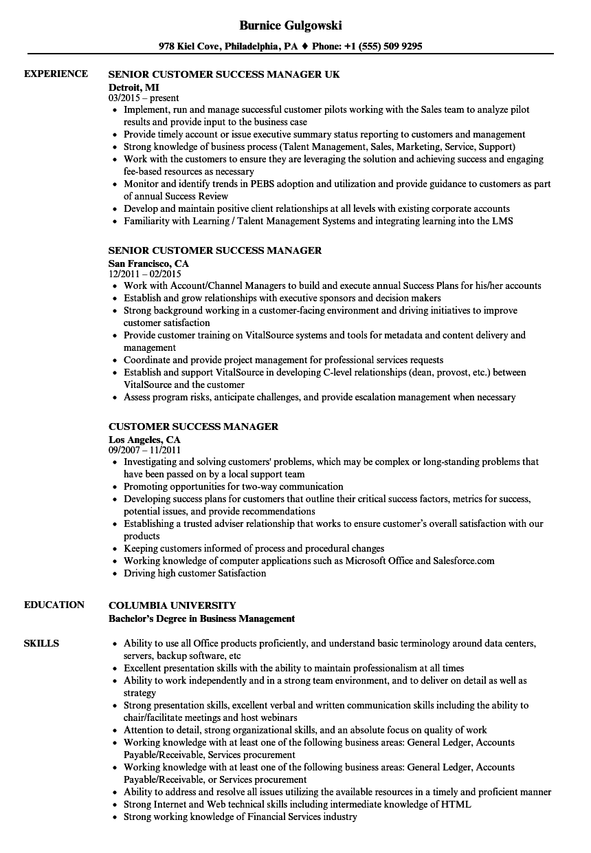 sample resume for customer success manager