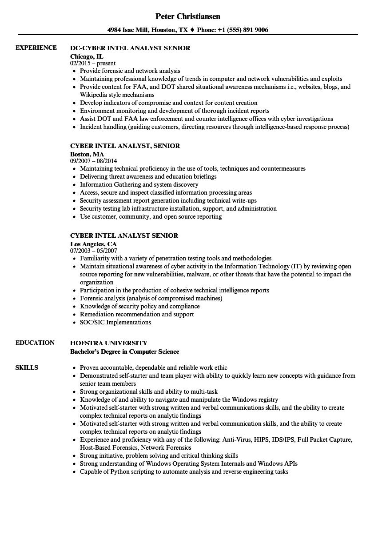Cyber Intel Analyst Senior Resume Samples Velvet Jobs