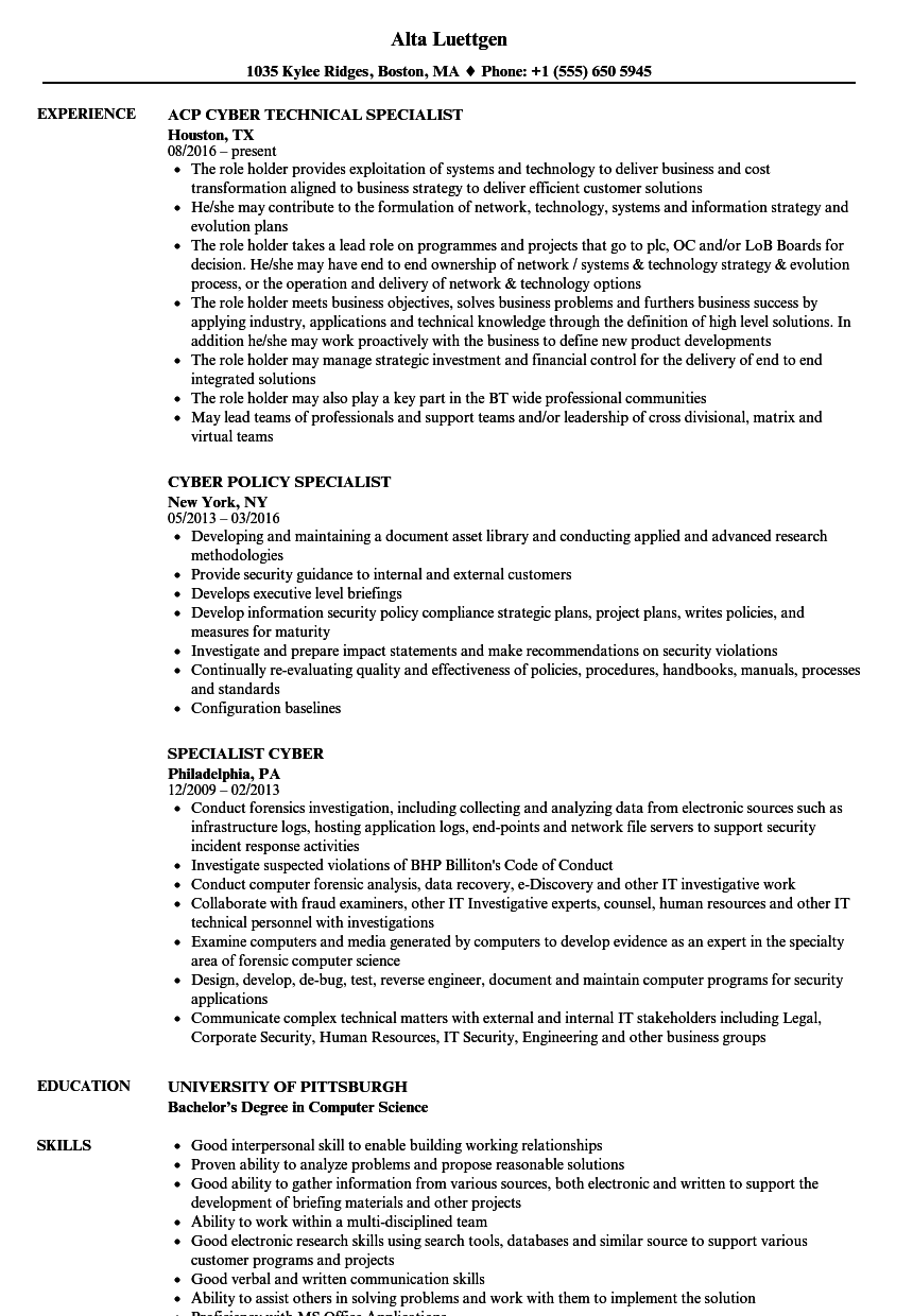 Cyber Specialist Resume Samples Velvet Jobs