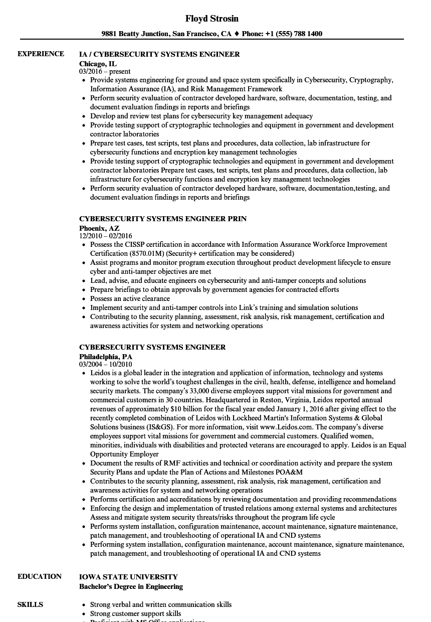 cyber security nist project based resume sample