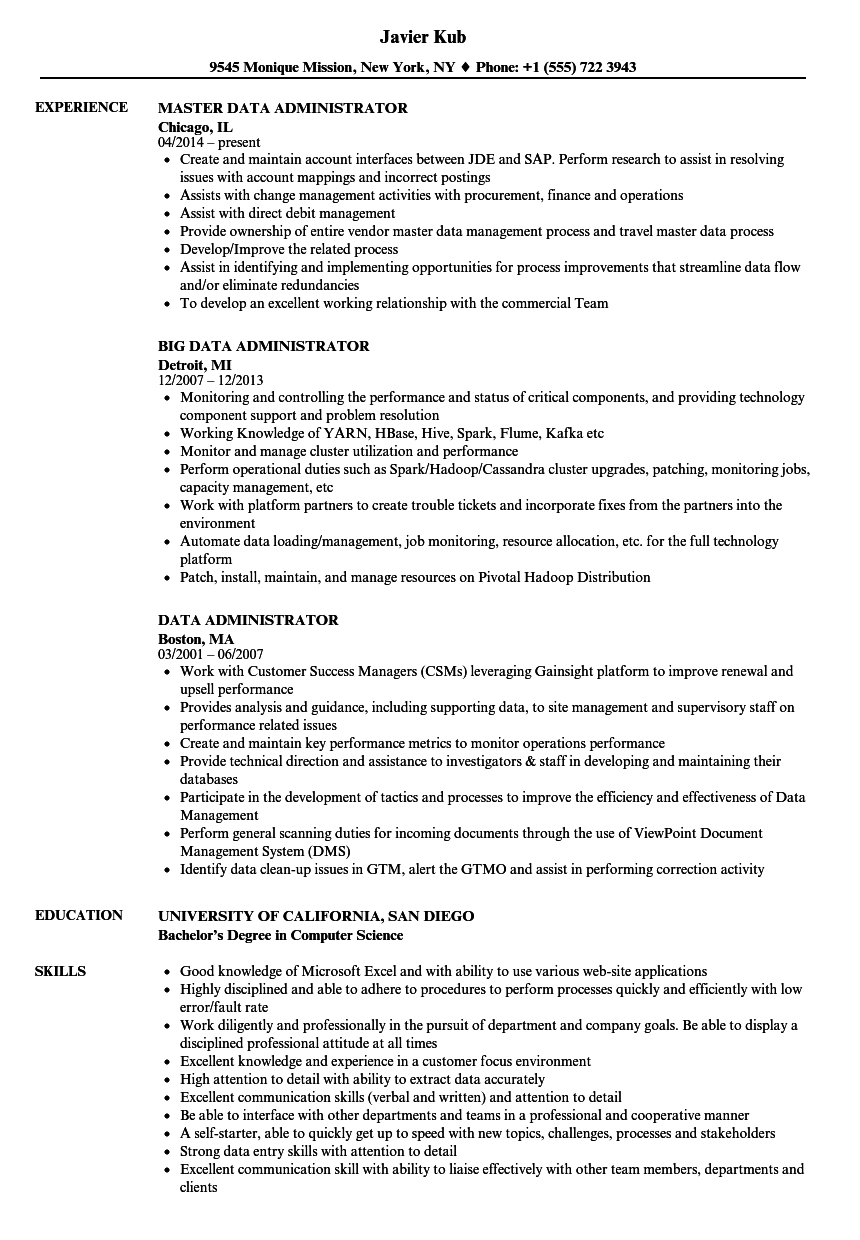 sample data modeler resume