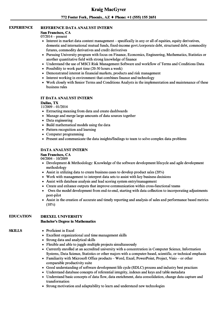 Data Analyst Intern Resume Samples | Velvet Jobs