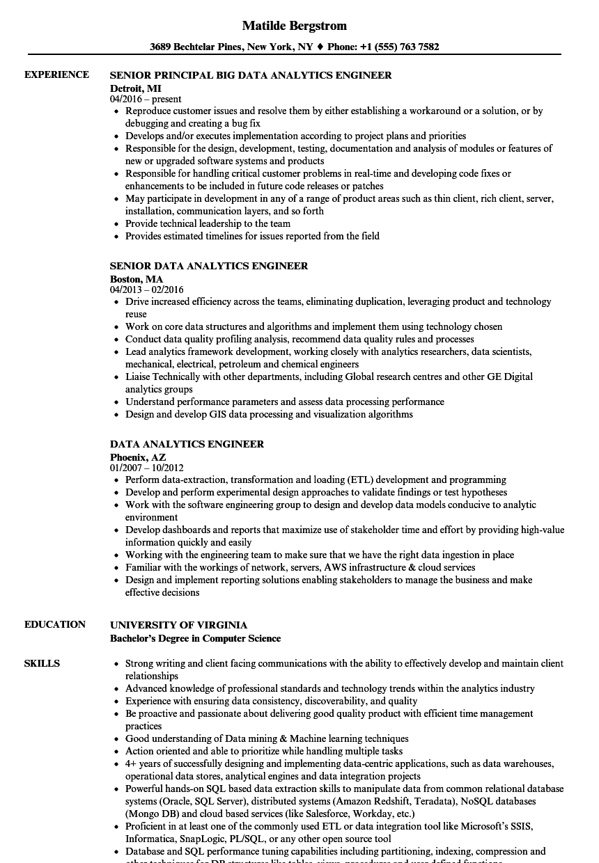 Data Analytics Engineer Resume Samples Velvet Jobs