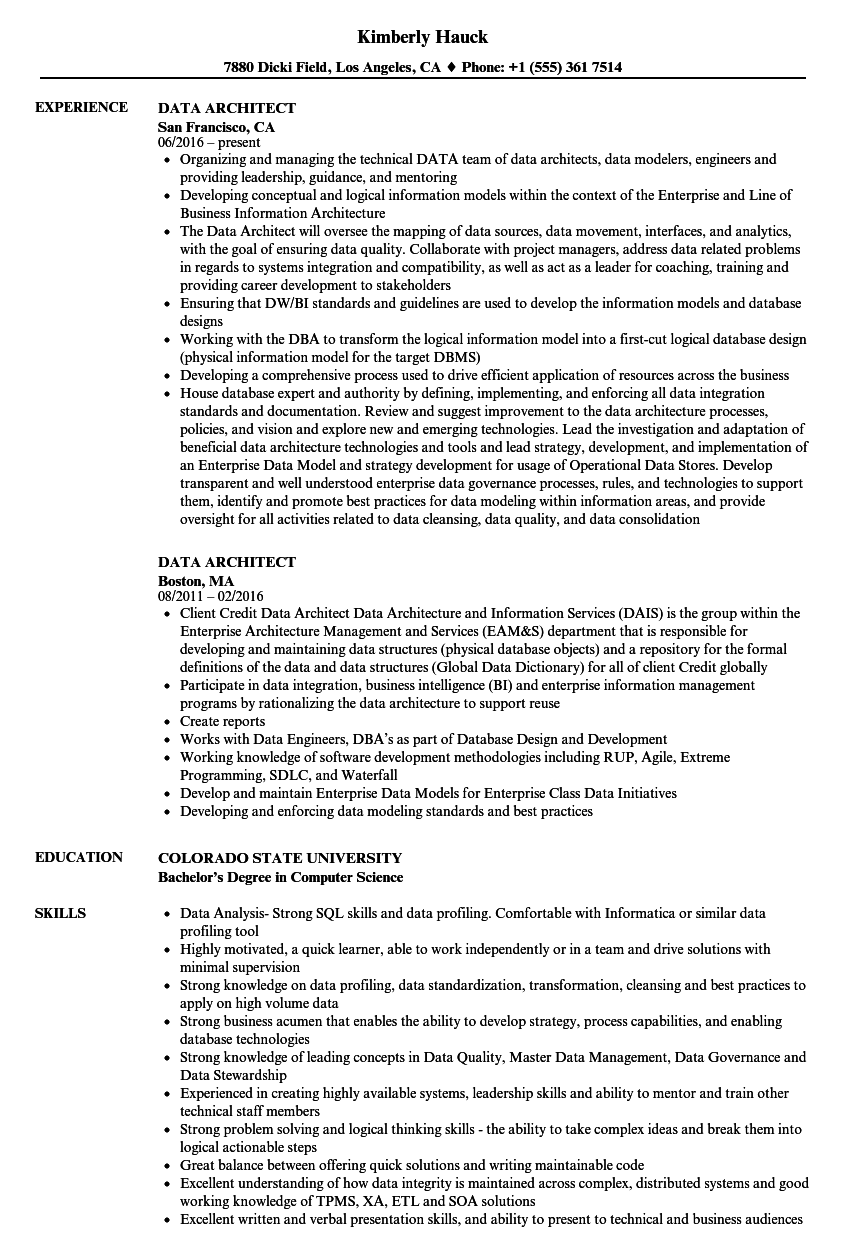 Data Architect Resume Samples  Velvet Jobs