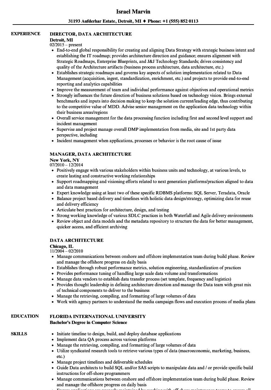data modeler sample resume