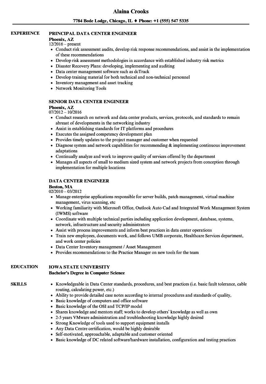 Data Center Engineer Resume Samples Velvet Jobs