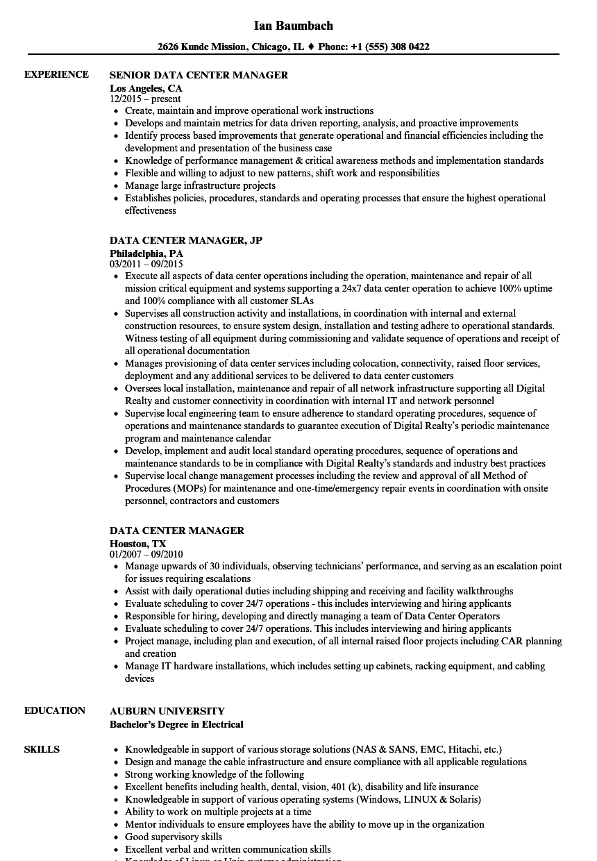 data center manager resume examples