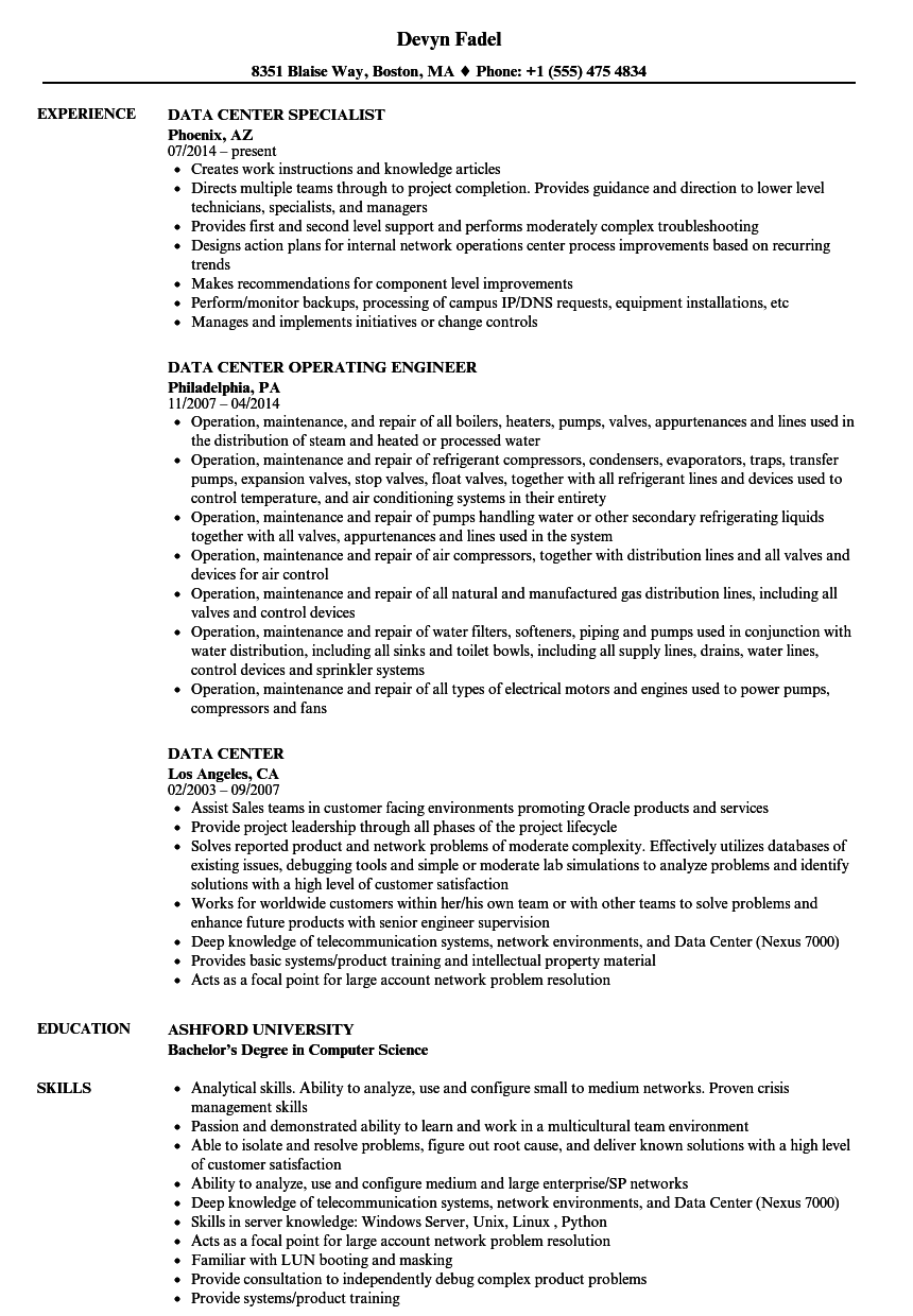 data technician resume sample