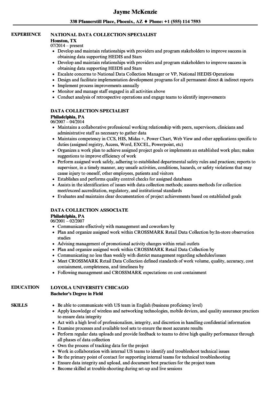 Data Collection Resume Samples Velvet Jobs