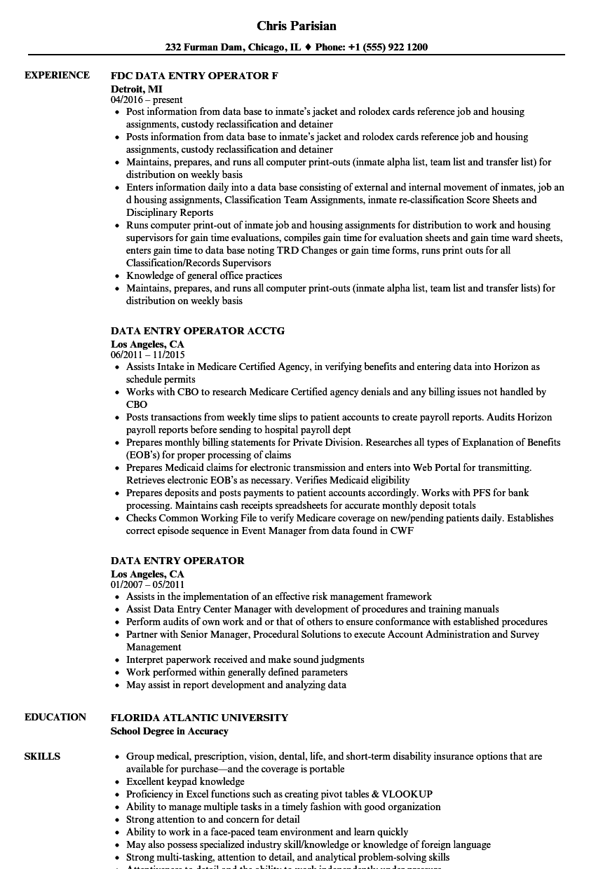 resume examples for data entry job