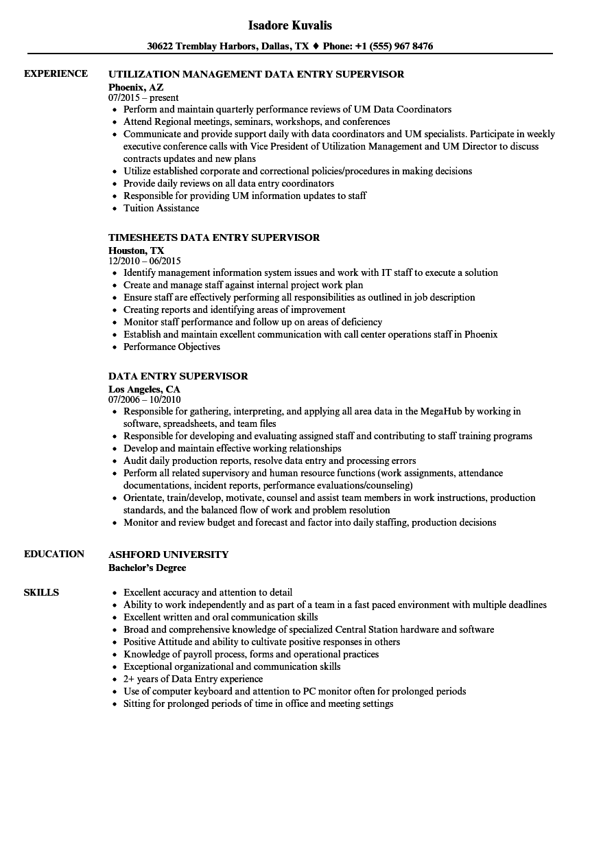 Data Entry Supervisor Resume Samples  Velvet Jobs