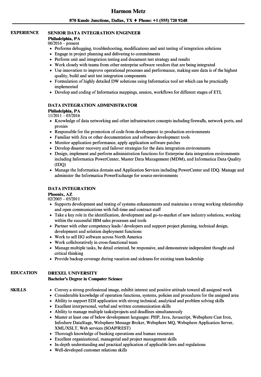 resume sample for data integration director