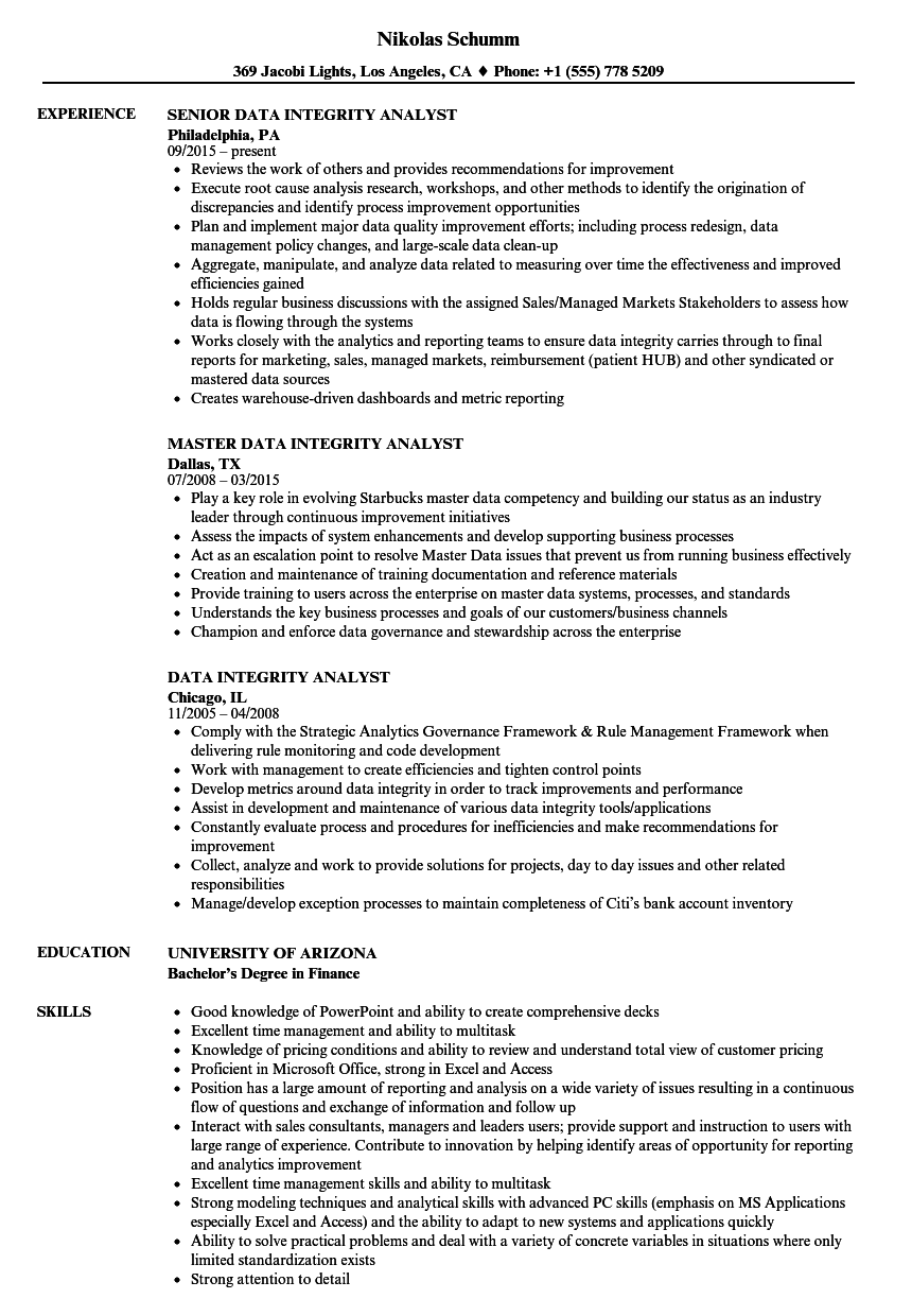 Data Integrity Analyst Resume Samples Velvet Jobs