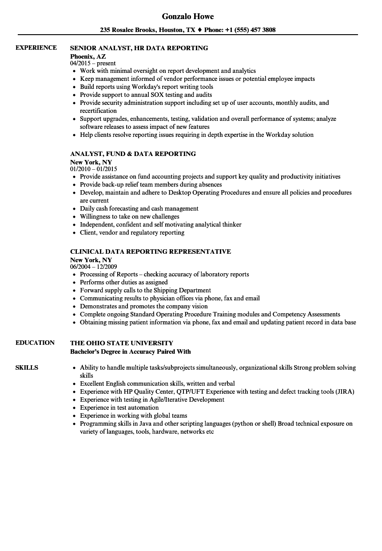 data analyst sample resume job points
