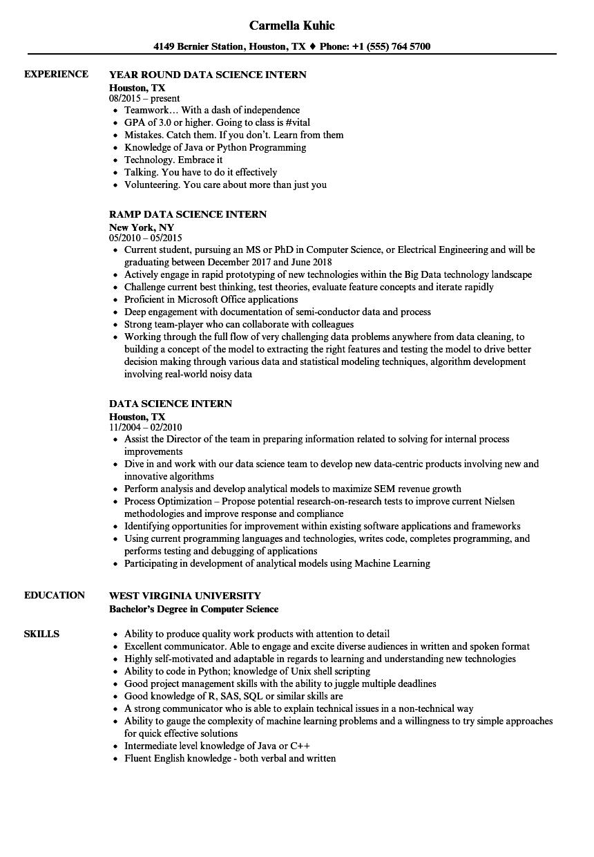 data science intern resume template