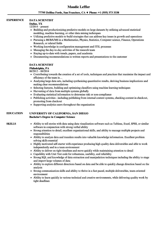resume examples data scientist
