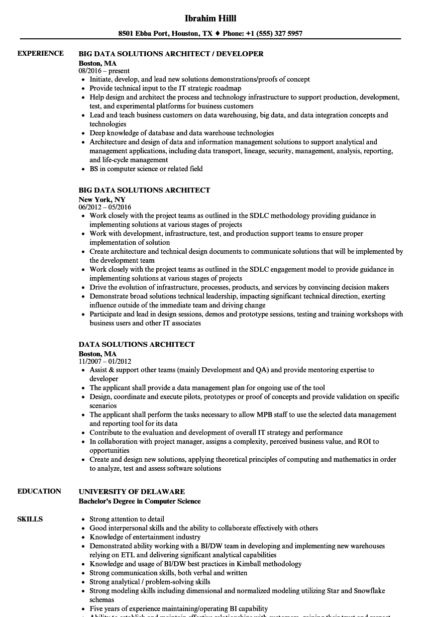 Data Solutions Architect Resume Samples  Velvet Jobs