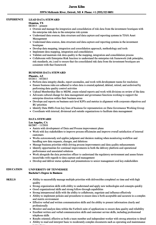 chief steward resume sample