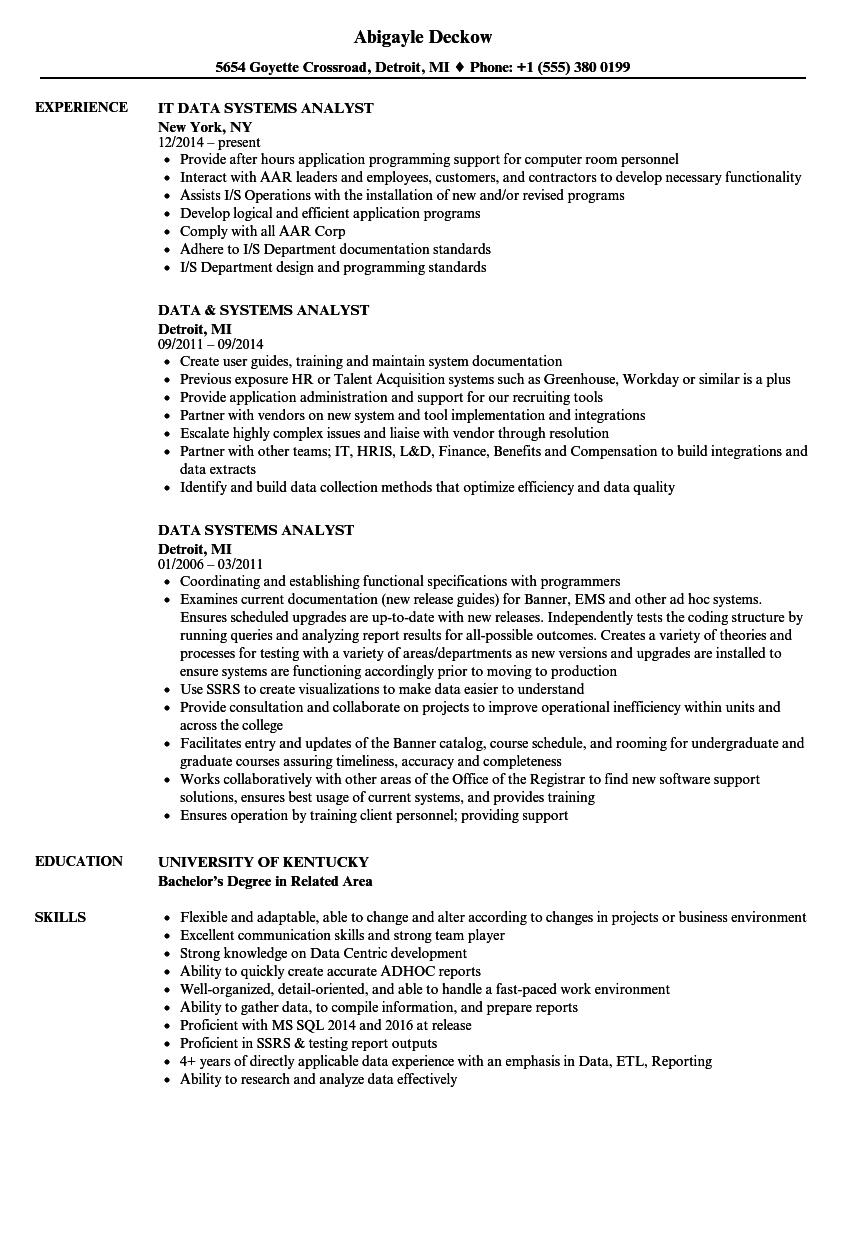 Computer System Analyst Job Description
