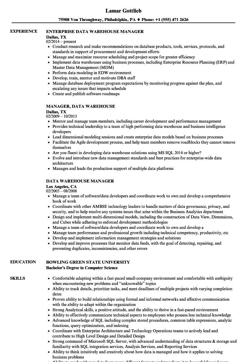 Data Warehouse Manager Resume Samples Velvet Jobs
