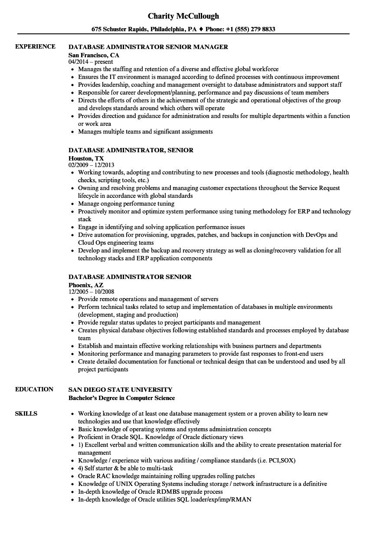 Database Administrator Senior Resume Samples Velvet Jobs