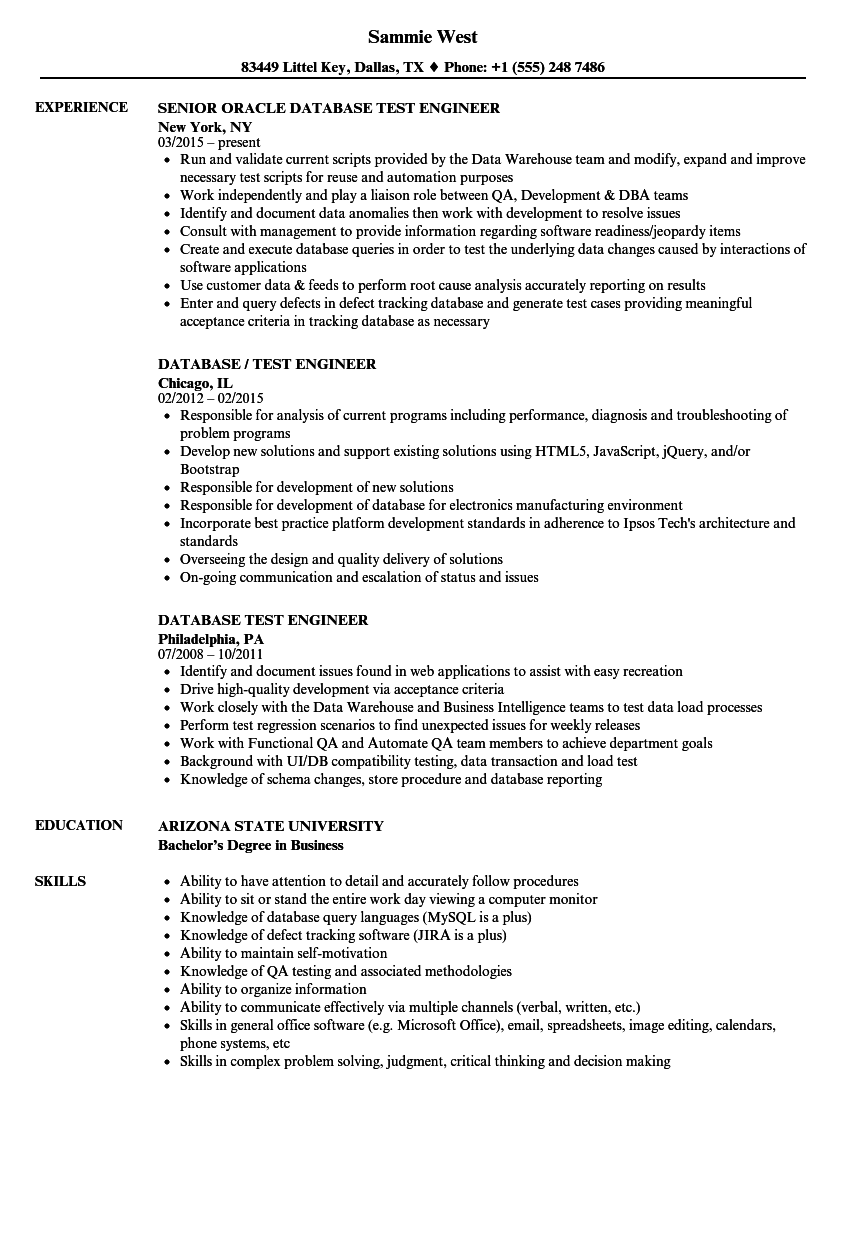 Database Test Engineer Resume Samples Velvet Jobs