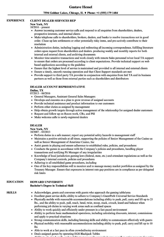 Download Dealer Resume Sample As Image File