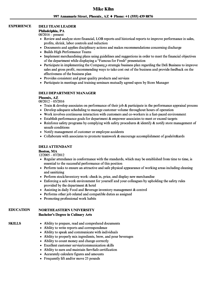 Deli Resume Samples Velvet Jobs
