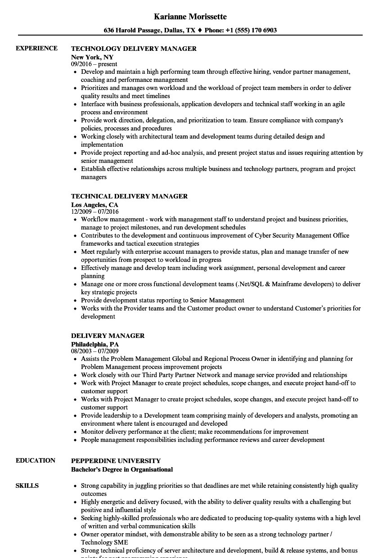 Delivery Manager Resume Samples Velvet Jobs