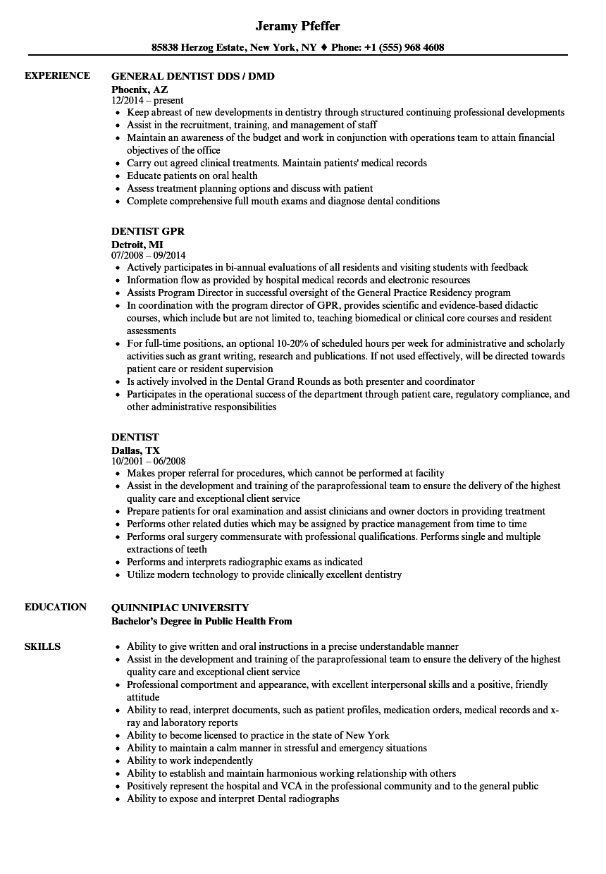 general dentist resume sample