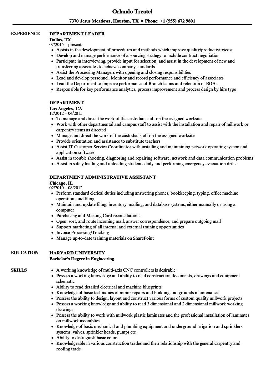 Department Resume Samples Velvet Jobs
